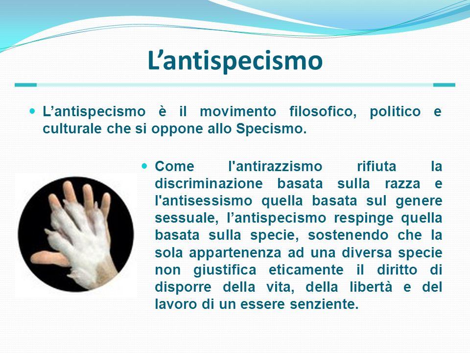 L'antispecismo L'antispecismo è il movimento filosofico, politico e culturale che si oppone allo Specismo.