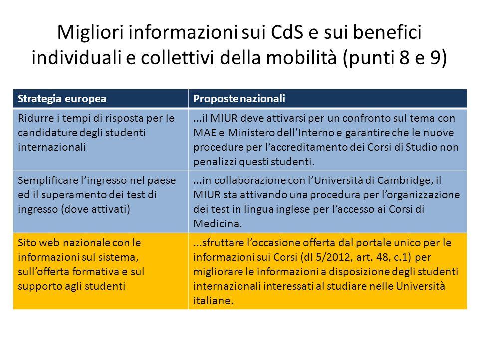Migliori informazioni sui CdS e sui benefici individuali e collettivi della mobilità (punti 8 e 9)
