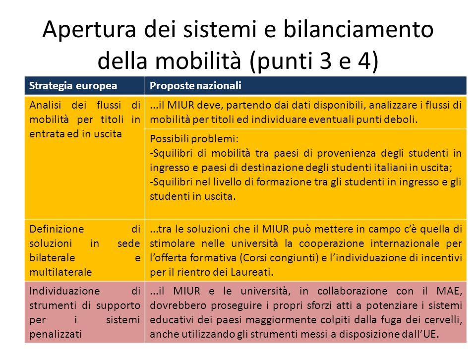 Apertura dei sistemi e bilanciamento della mobilità (punti 3 e 4)
