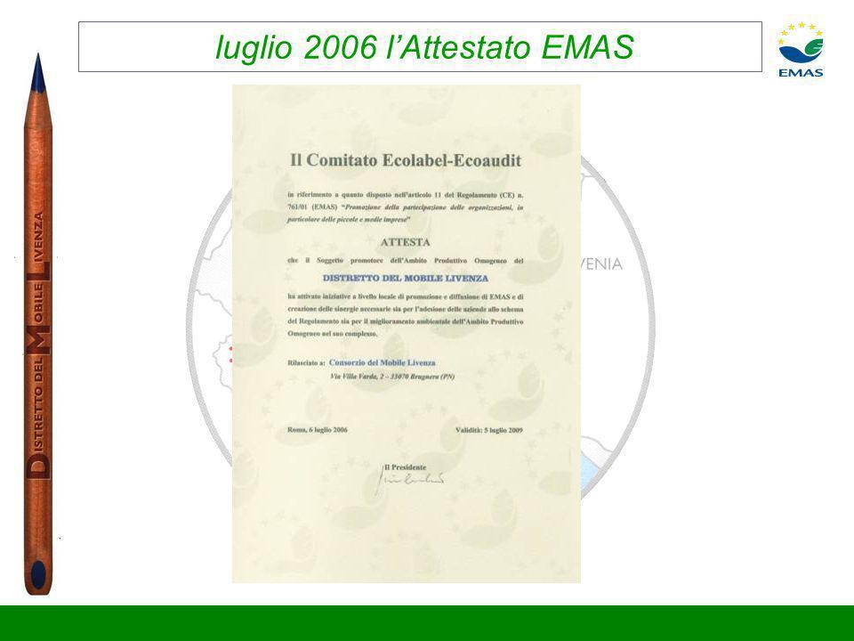 luglio 2006 l'Attestato EMAS