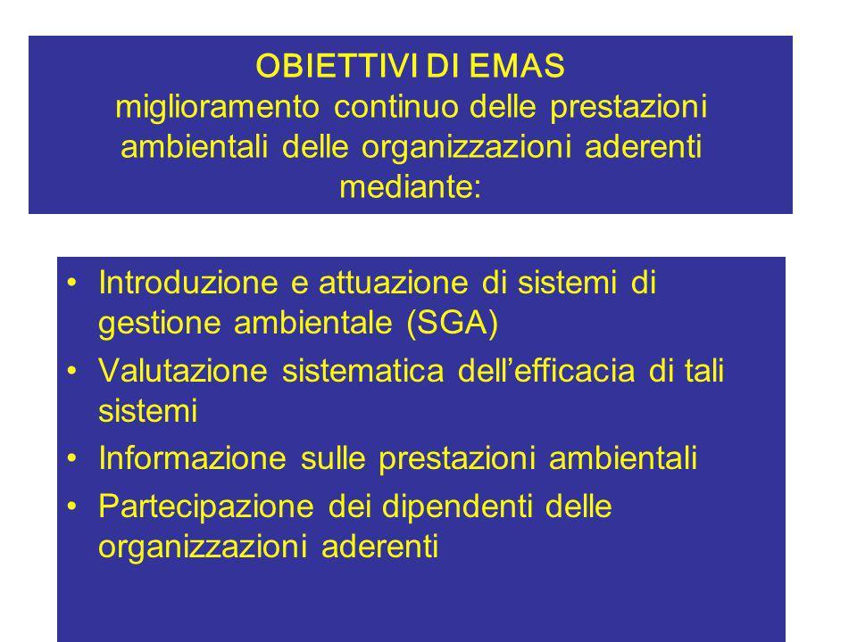 OBIETTIVI DI EMAS miglioramento continuo delle prestazioni ambientali delle organizzazioni aderenti mediante: