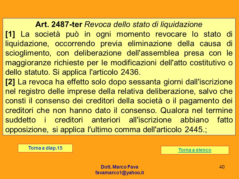 Art. 2487-ter Revoca dello stato di liquidazione