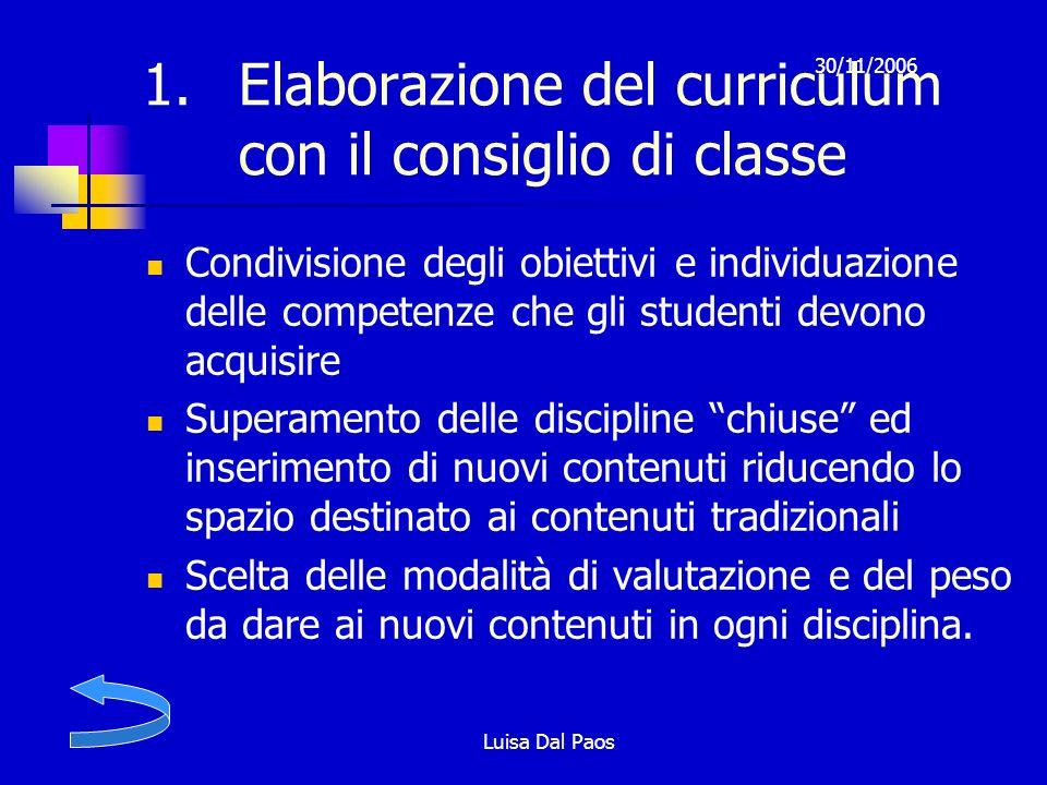 Elaborazione del curriculum con il consiglio di classe