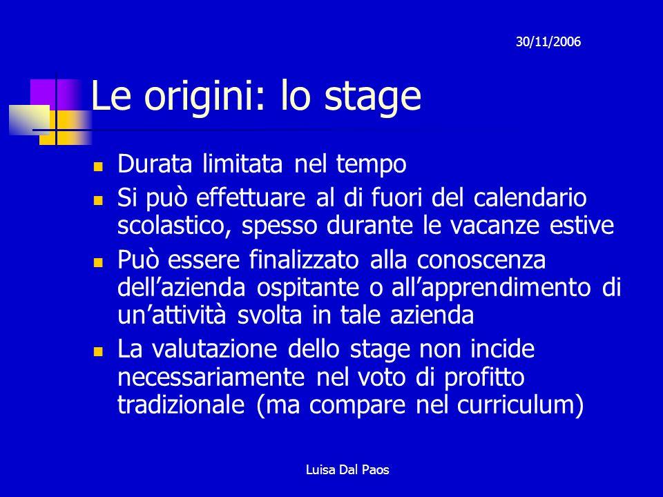 Le origini: lo stage Durata limitata nel tempo