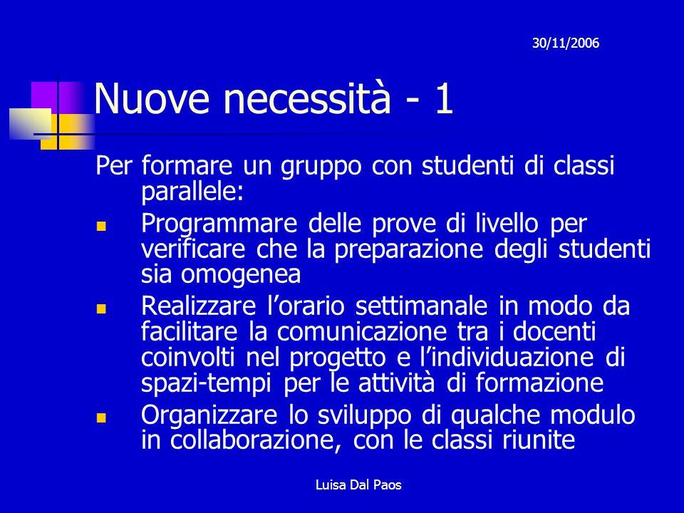 Nuove necessità - 1 30/11/2006. Per formare un gruppo con studenti di classi parallele:
