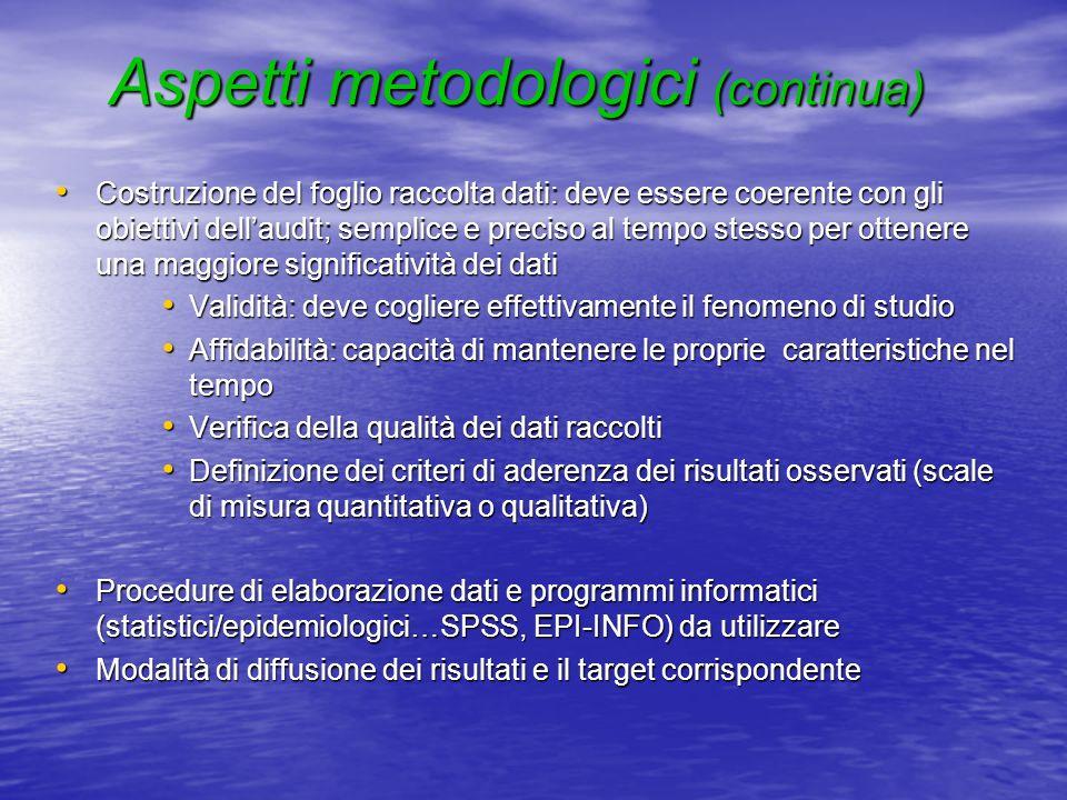 Aspetti metodologici (continua)
