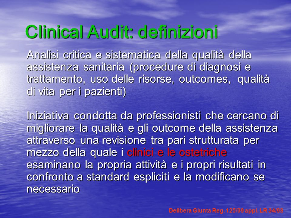 Clinical Audit: definizioni