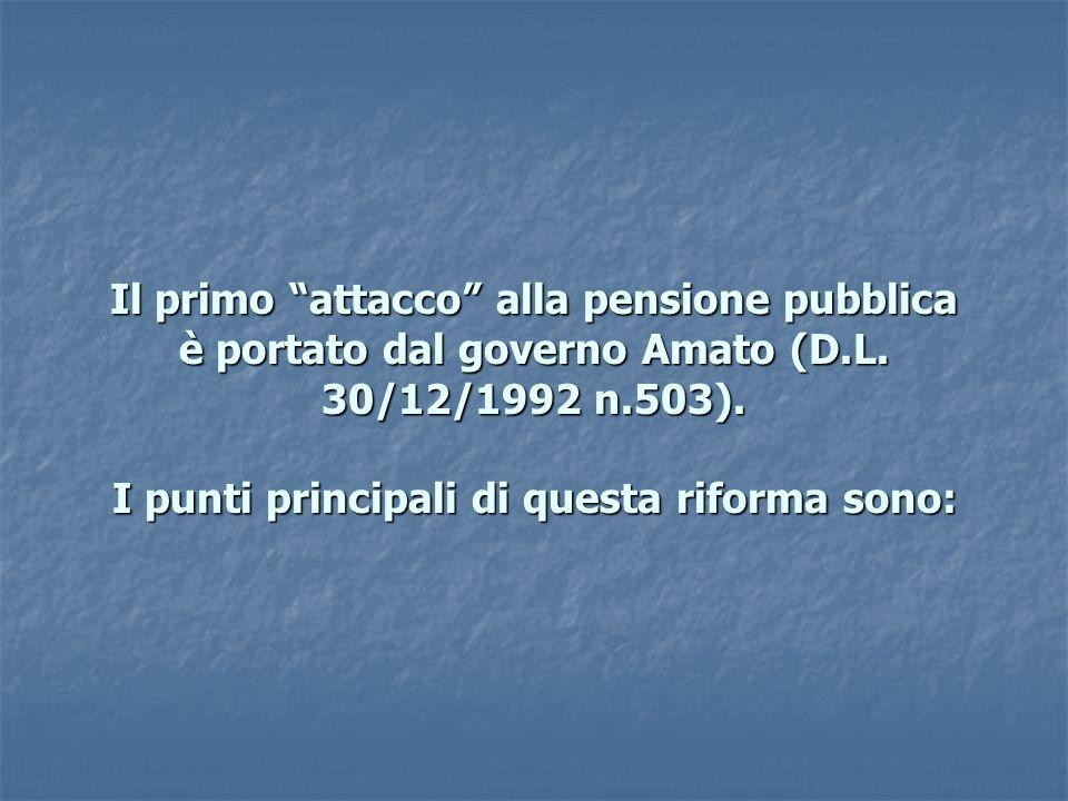 Il primo attacco alla pensione pubblica è portato dal governo Amato (D.L.