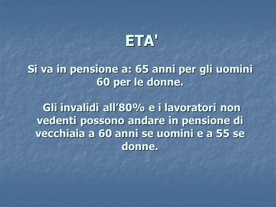 ETA Si va in pensione a: 65 anni per gli uomini 60 per le donne