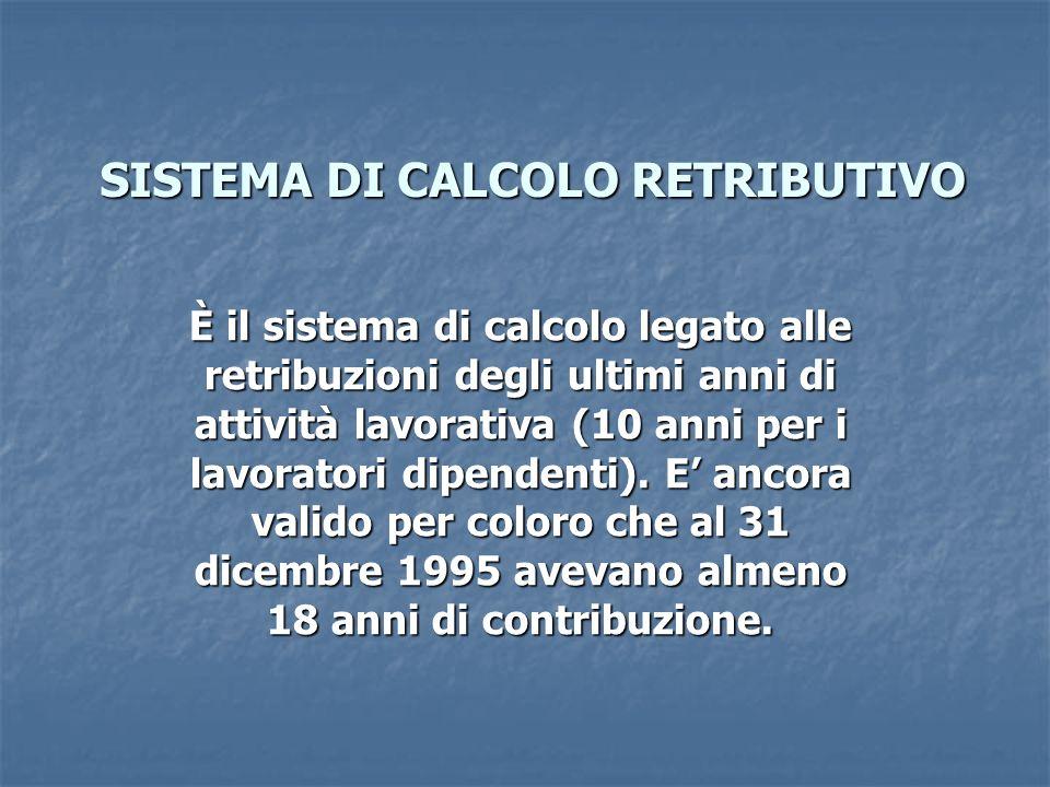 SISTEMA DI CALCOLO RETRIBUTIVO