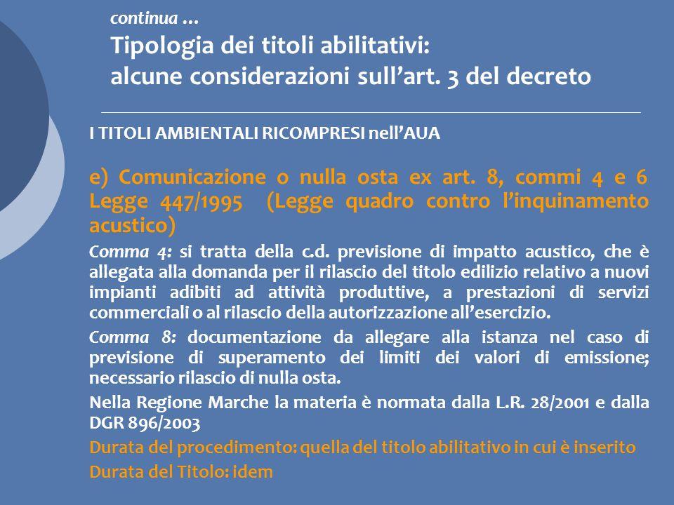 continua … Tipologia dei titoli abilitativi: alcune considerazioni sull'art. 3 del decreto