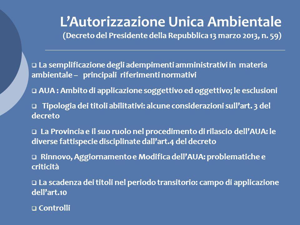 L'Autorizzazione Unica Ambientale (Decreto del Presidente della Repubblica 13 marzo 2013, n. 59)