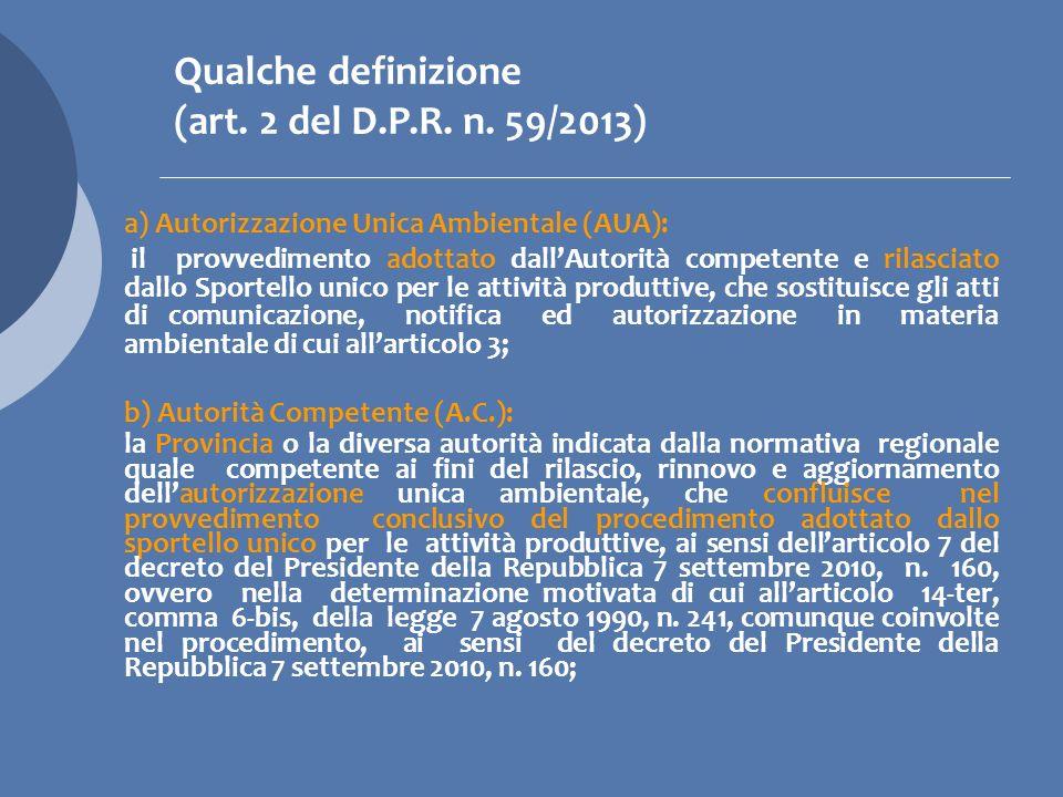 Qualche definizione (art. 2 del D.P.R. n. 59/2013)