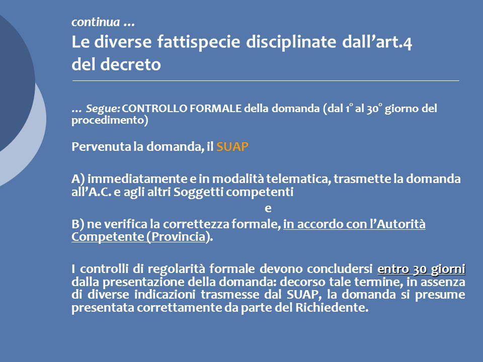 continua … Le diverse fattispecie disciplinate dall'art.4 del decreto