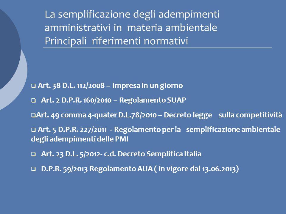 La semplificazione degli adempimenti amministrativi in materia ambientale Principali riferimenti normativi