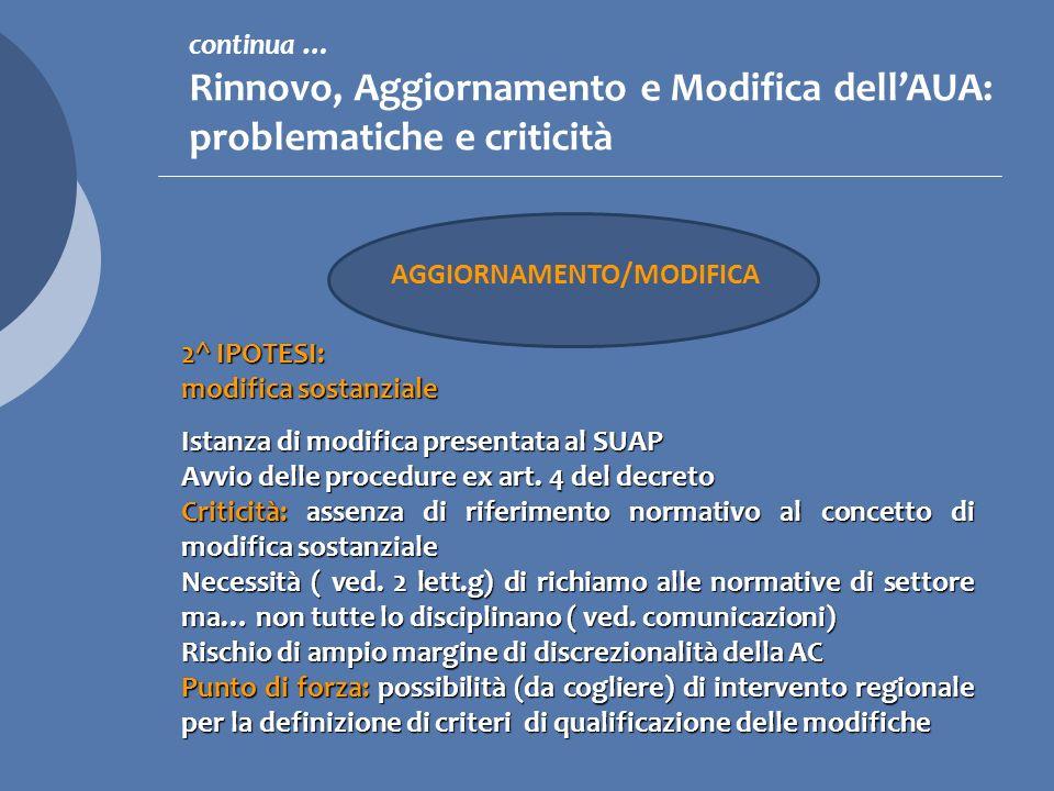 continua … Rinnovo, Aggiornamento e Modifica dell'AUA: problematiche e criticità