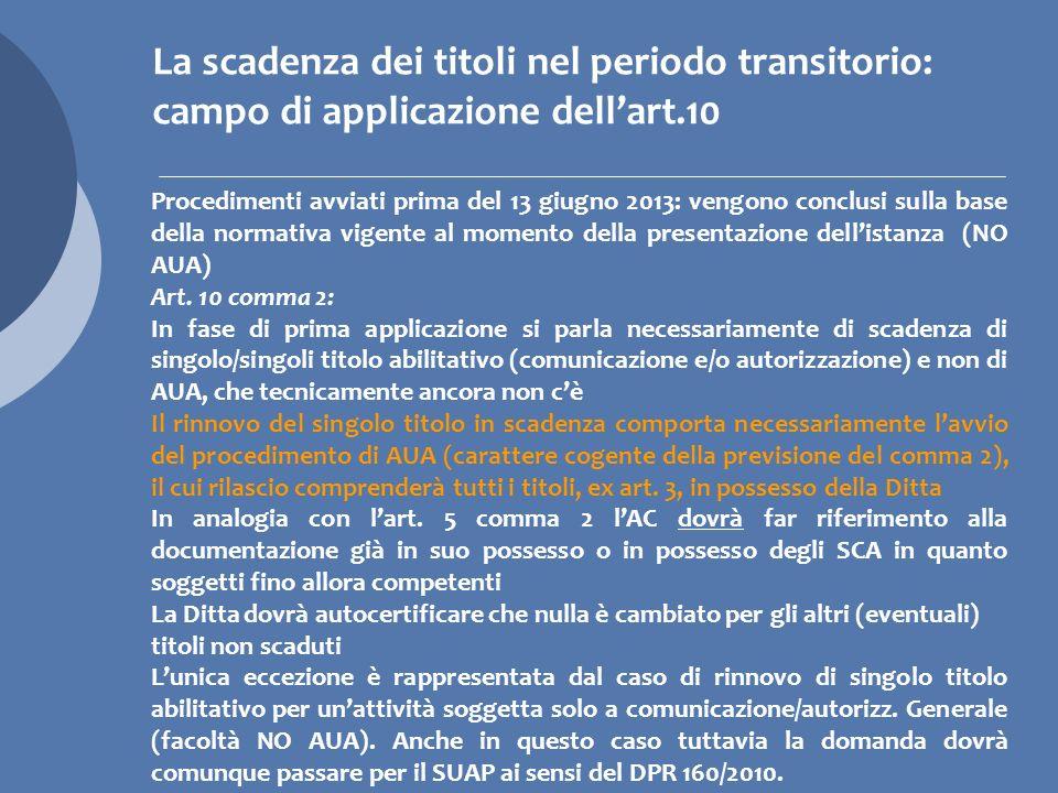 La scadenza dei titoli nel periodo transitorio: campo di applicazione dell'art.10