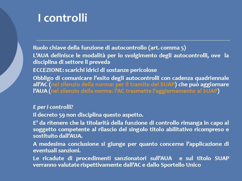 I controlli Ruolo chiave della funzione di autocontrollo (art. comma 5)