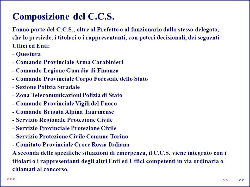 Composizione del C.C.S. Fanno parte del C.C.S., oltre al Prefetto o al funzionario dallo stesso delegato,
