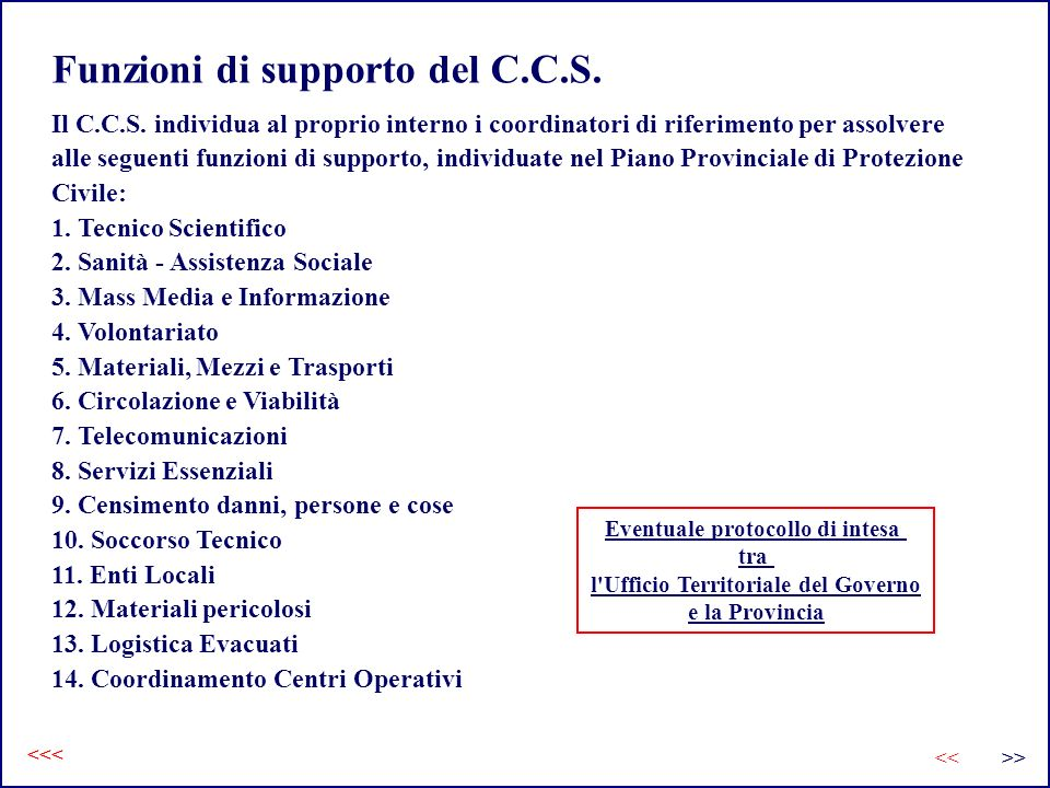 Funzioni di supporto del C.C.S.