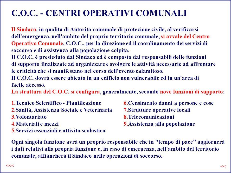 C.O.C. - CENTRI OPERATIVI COMUNALI