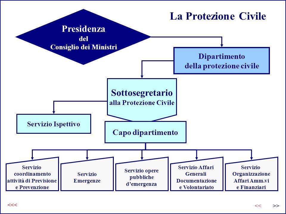 La Protezione Civile Presidenza Sottosegretario Dipartimento