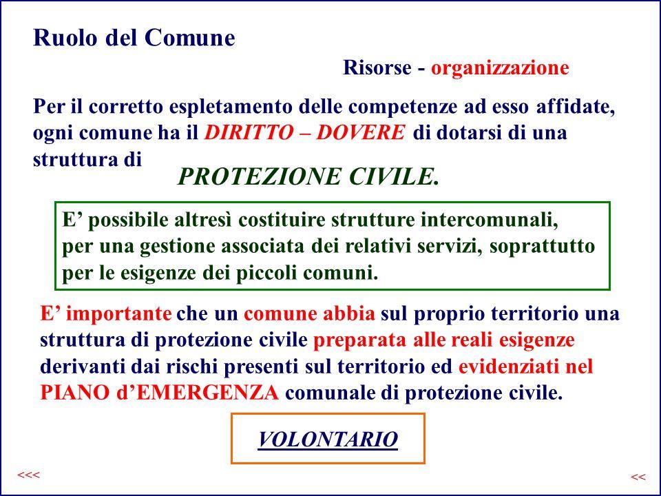 Ruolo del Comune PROTEZIONE CIVILE. Risorse - organizzazione