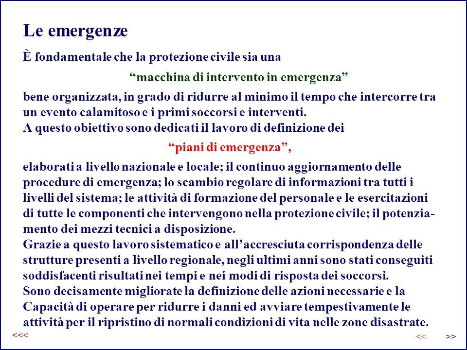 Le emergenze È fondamentale che la protezione civile sia una