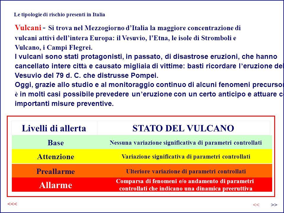 Le tipologie di rischio presenti in Italia