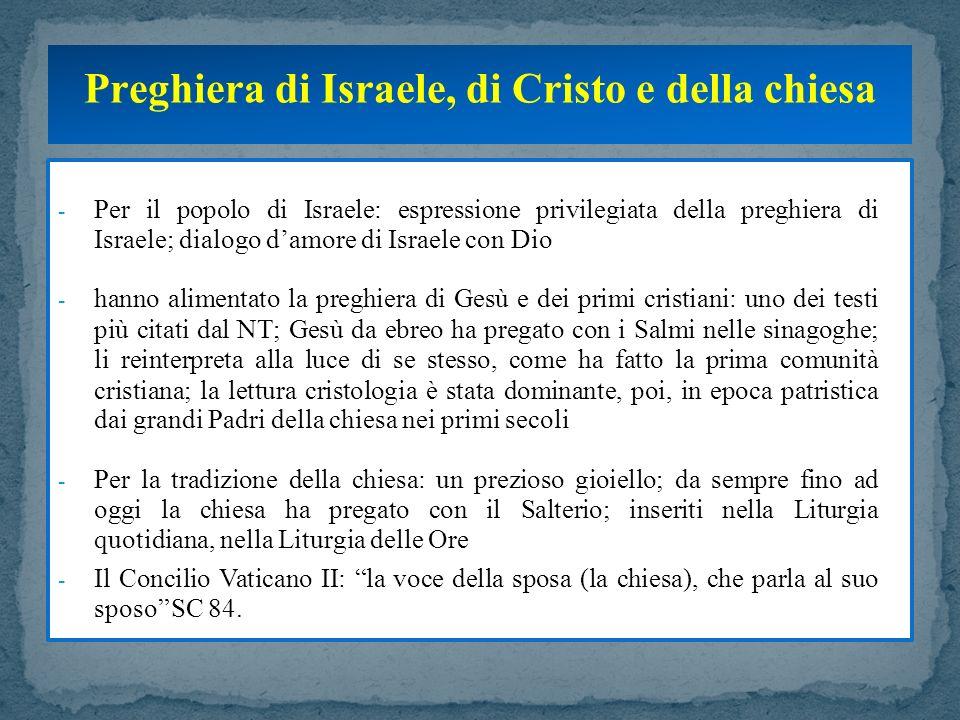Preghiera di Israele, di Cristo e della chiesa