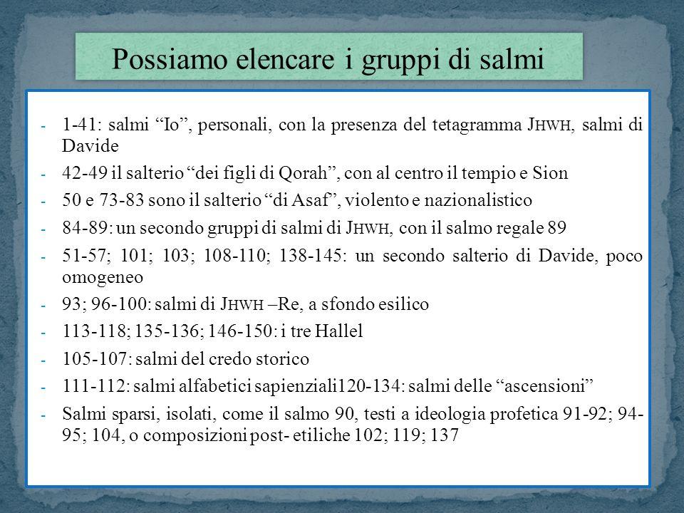 Possiamo elencare i gruppi di salmi