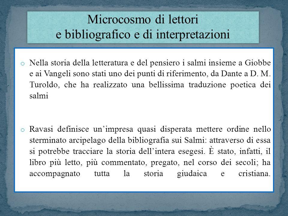 Microcosmo di lettori e bibliografico e di interpretazioni