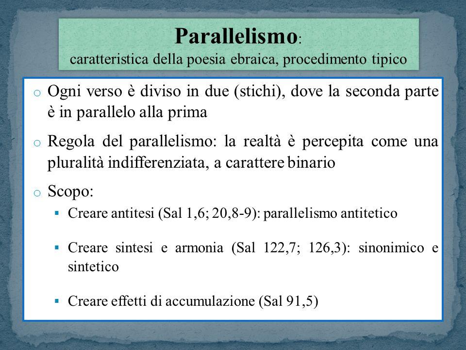 Parallelismo: caratteristica della poesia ebraica, procedimento tipico