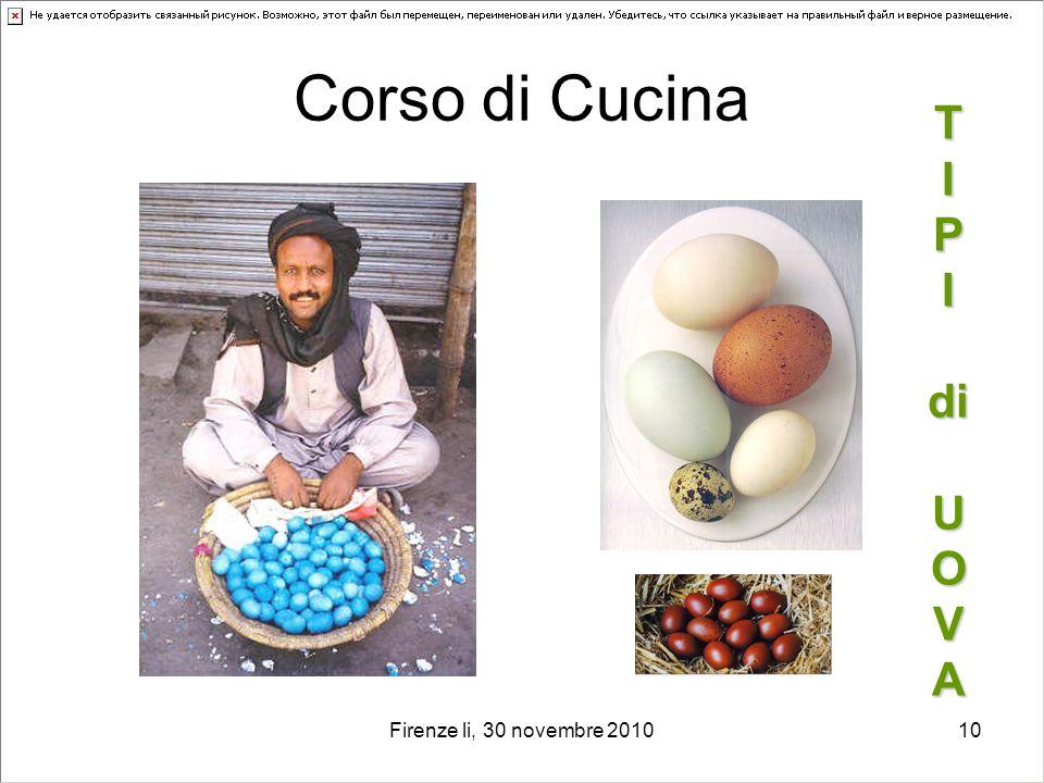 Corso di Cucina T I P I di U O V A Firenze li, 30 novembre 2010