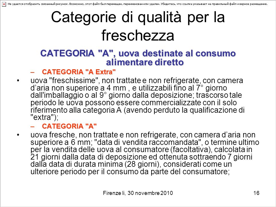 Categorie di qualità per la freschezza