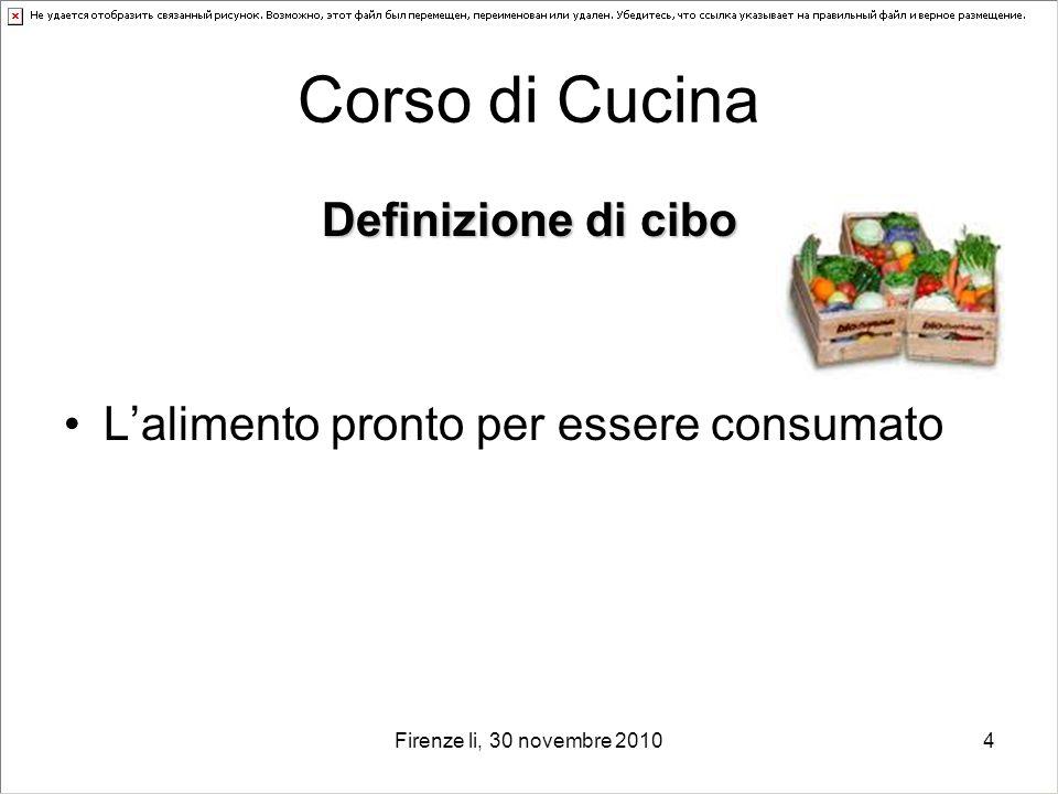 Corso di Cucina Definizione di cibo