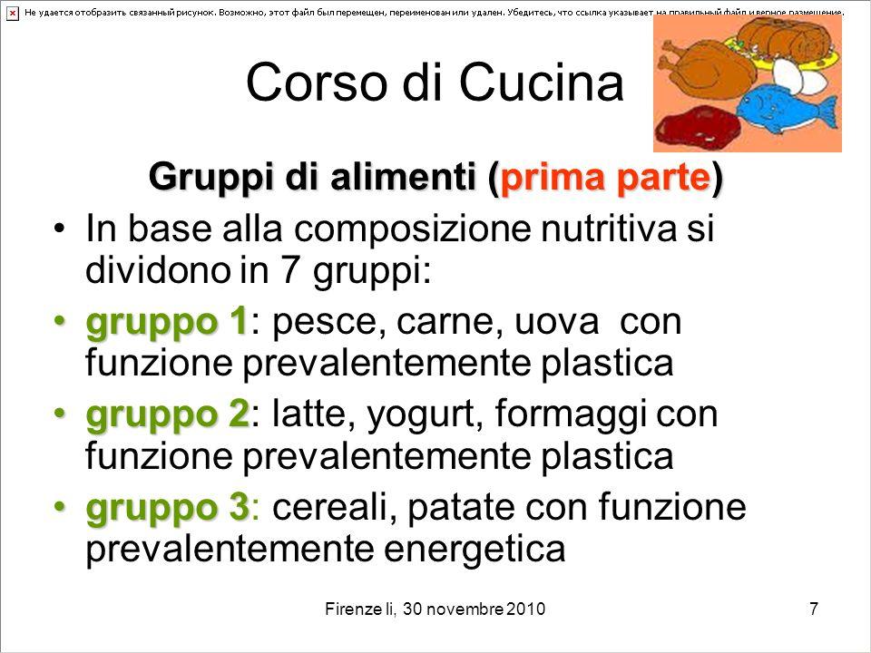Gruppi di alimenti (prima parte)