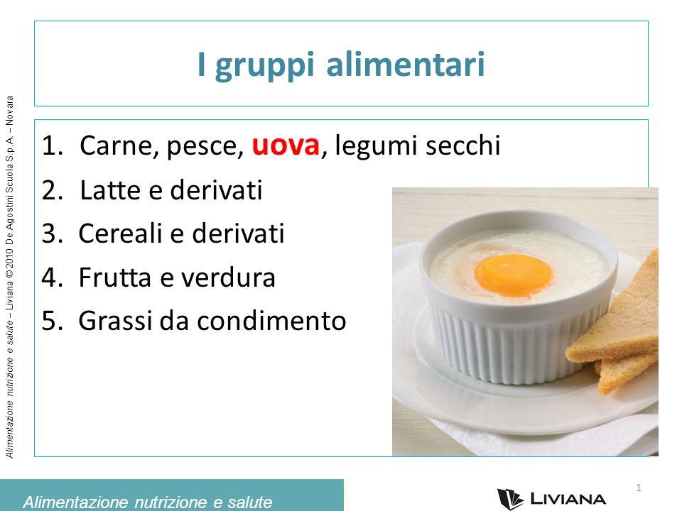 I gruppi alimentari Carne, pesce, uova, legumi secchi Latte e derivati
