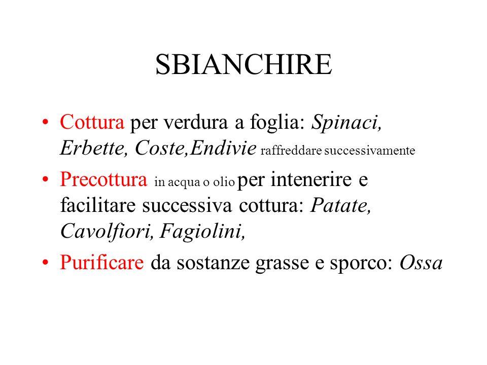 SBIANCHIRECottura per verdura a foglia: Spinaci, Erbette, Coste,Endivie raffreddare successivamente.
