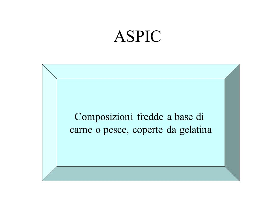 ASPIC Composizioni fredde a base di carne o pesce, coperte da gelatina