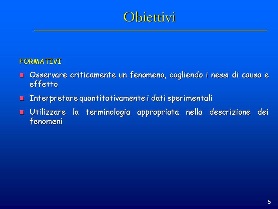 Obiettivi FORMATIVI. Osservare criticamente un fenomeno, cogliendo i nessi di causa e effetto. Interpretare quantitativamente i dati sperimentali.