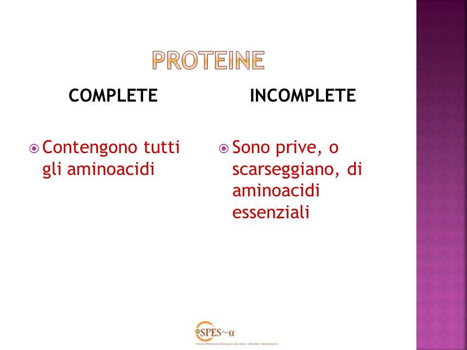PROTEINE COMPLETE Contengono tutti gli aminoacidi INCOMPLETE