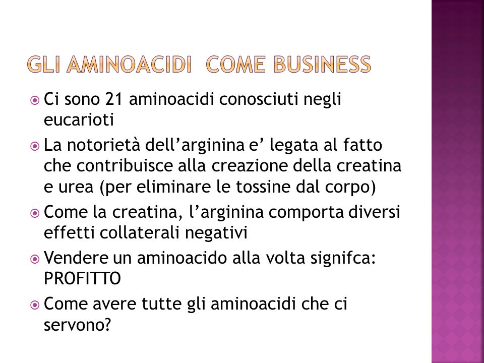 Gli aminoacidi come business