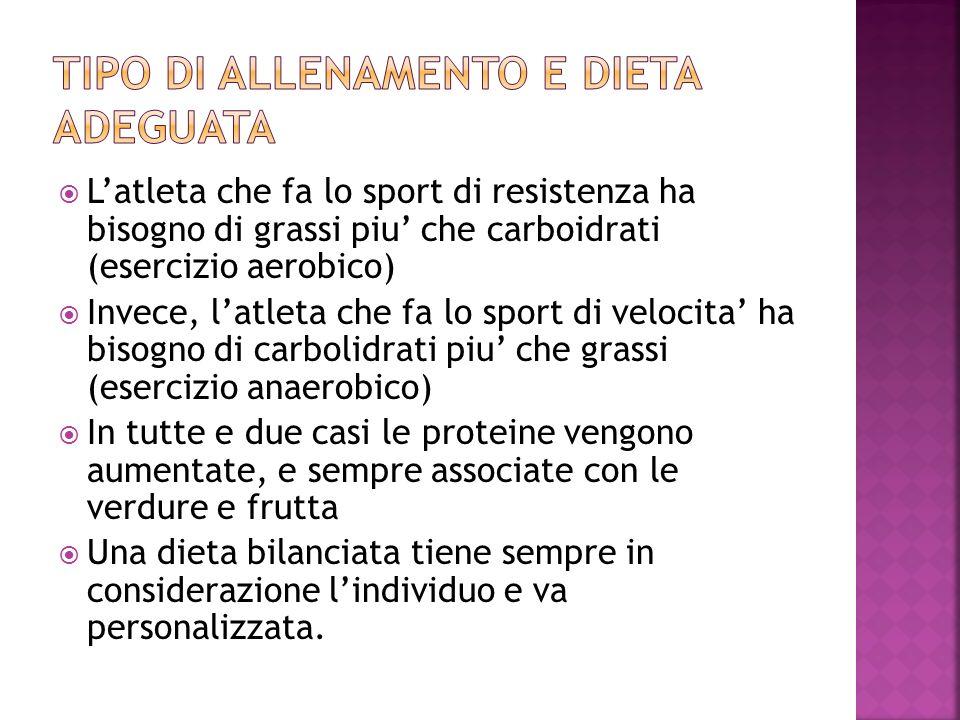 Tipo di allenamento e dieta adeguata