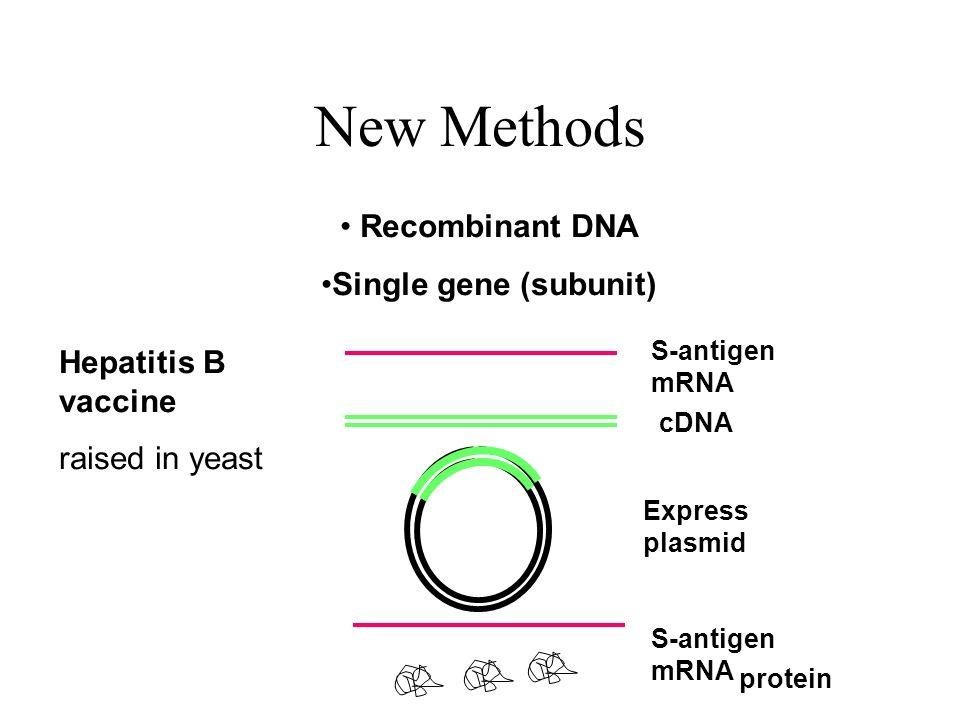 New Methods Recombinant DNA Single gene (subunit) Hepatitis B vaccine
