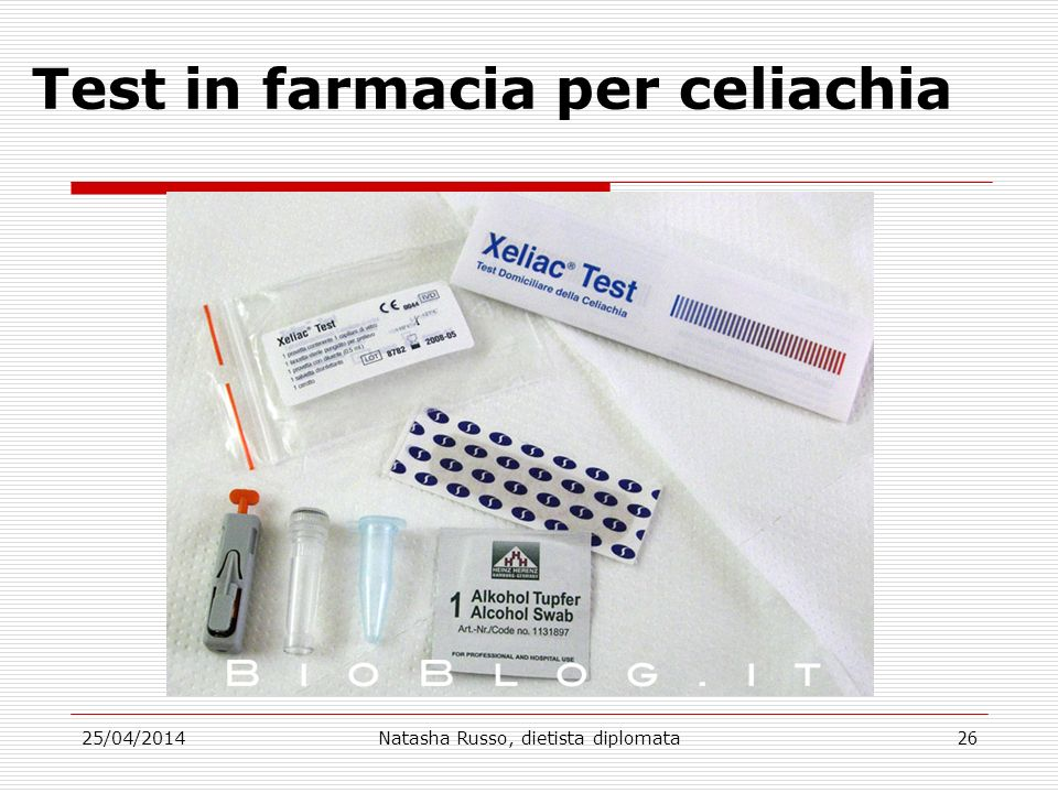 Test in farmacia per celiachia