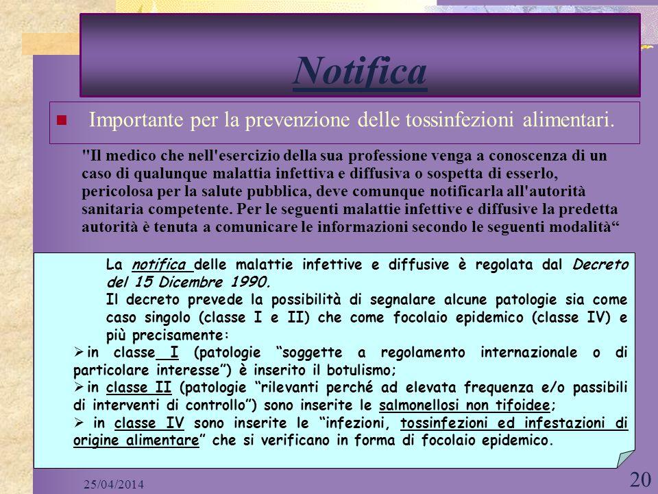 Notifica Importante per la prevenzione delle tossinfezioni alimentari.