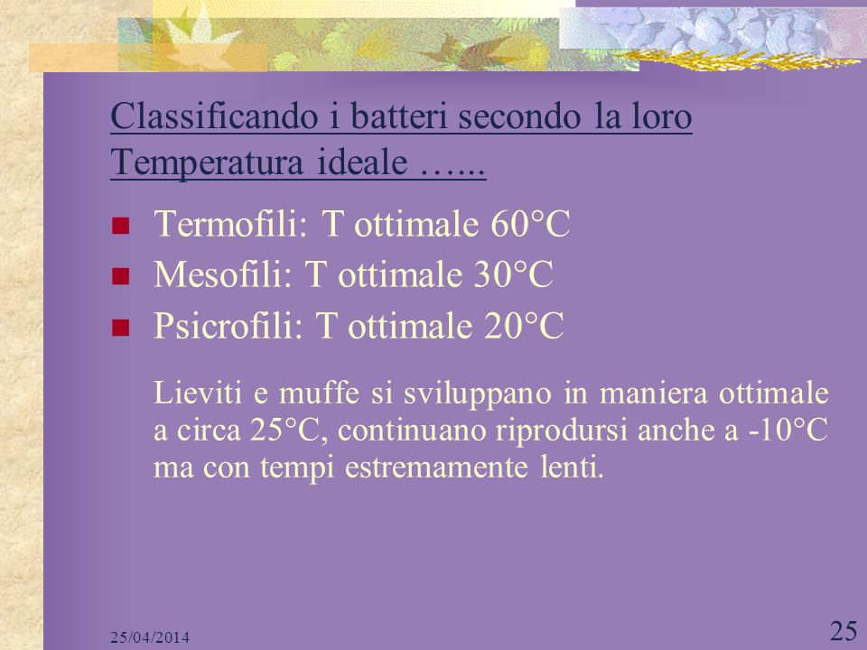 Classificando i batteri secondo la loro Temperatura ideale …...