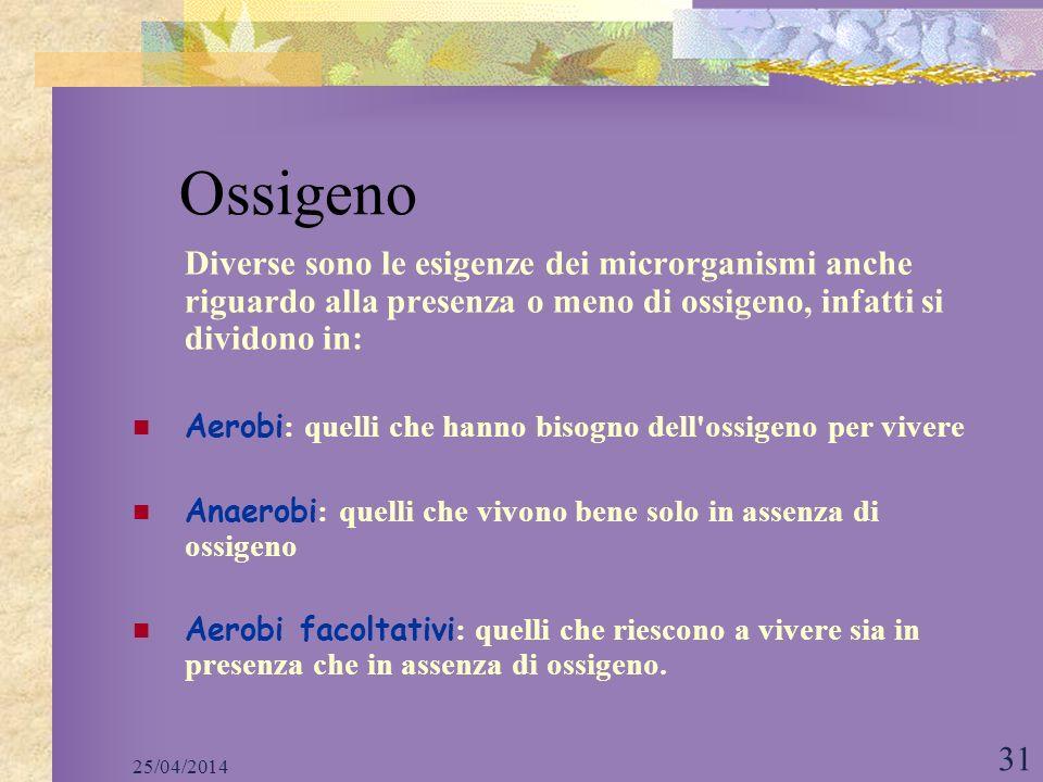 Ossigeno Diverse sono le esigenze dei microrganismi anche riguardo alla presenza o meno di ossigeno, infatti si dividono in: