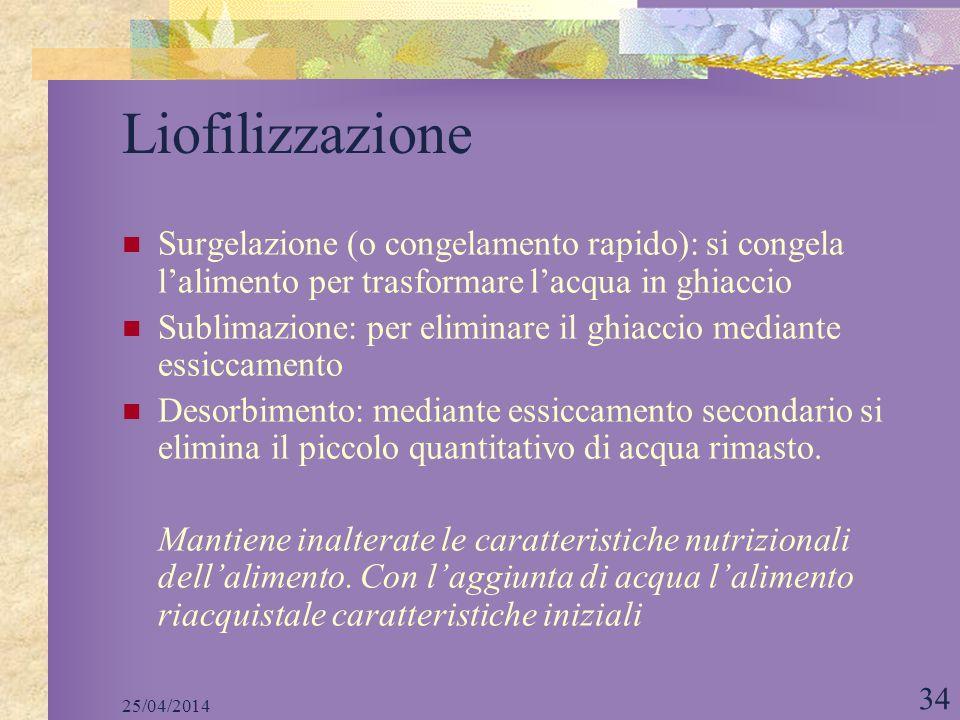 LiofilizzazioneSurgelazione (o congelamento rapido): si congela l'alimento per trasformare l'acqua in ghiaccio.